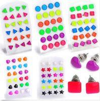 Wholesale Glow Display - Wholesale Lots 288 pcs Triangle Star Heart GLOW IN DARK Luminous Ear Stud W Display[JE06031-JE06036*2]