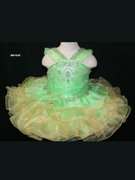Wholesale Girls Ball Gown Tone - 2016 Latest Design Green And Yellow Girls Pageant Dresses Organza Shoulders With Straps Zipper Back Beading Bodice Two Tones Tiered Skirt