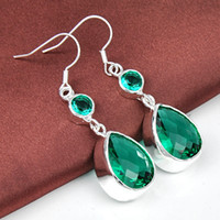 Wholesale Angelina Jolie Earrings - 2015 Direct Selling Limited Cuff Oscar Red Carpet Emerald Droplet Earring Angelina Jolie Design Luxury Lady Night Party Jewelry 2pcs E0045