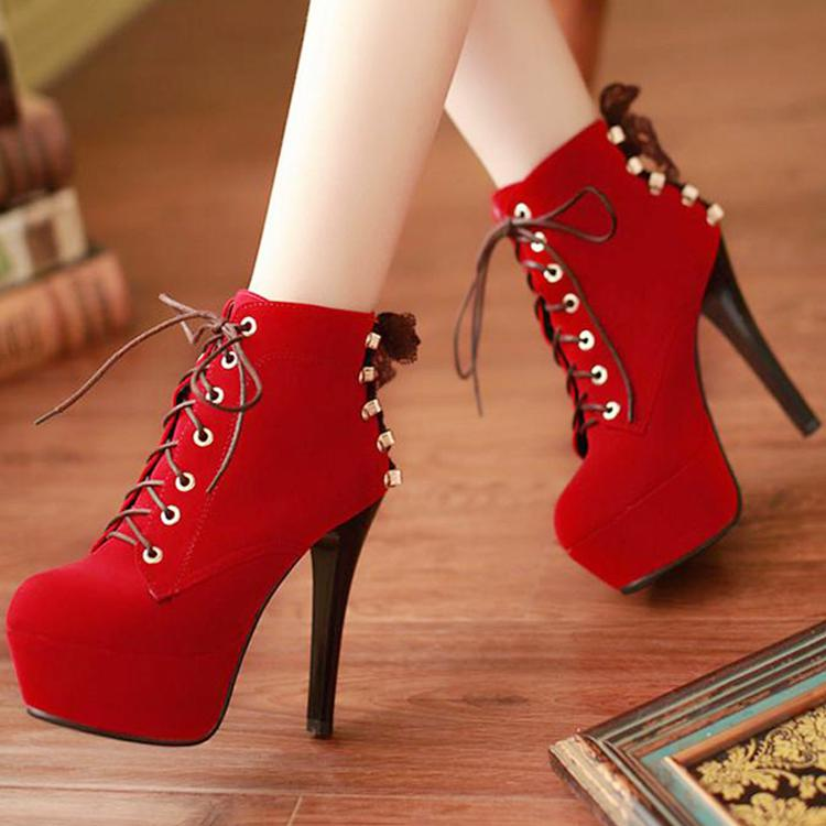 Length Heels Boots Heel Metal Fashion Autumn Lace Strap Ankle Thin High Y7vmbgyf6I