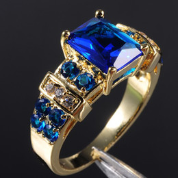 Wholesale Tanzanite Solitaire Ring - EXCLUSIVE Women's Blue Tanzanite 10KT Yellow Gold Filled Ring 8 9 10 11 12 Hot Gift
