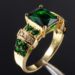 Wholesale Precious Stones Rings - Precious Women's Green Emerald 10KT Yllow Gold Filled Ring 8 9 10 11 12 Hot Gift