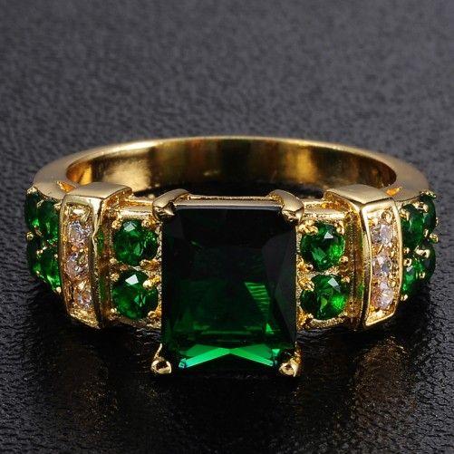 المرأة الثمينة الأخضر الزمرد 10kt yllow الذهب شغل الدائري 9/11 هدية ساخنة