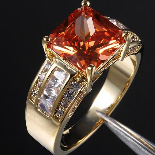 EXCLUSIVE Men's Orange Topaz Crystal Gemstone 10KT Yellow Gold Filled Ring 9/10/11/12/13 Hot Gift