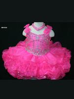 muhteşem kızlar baş toptan satış-Toptan Muhteşem Son Kızlar Pageant Elbise Sapanlar Ile Sıcak Pembe Organze Omuzlar Keyhole Geri Boncuk Korse Çiçekler Bow Fırfır Etek