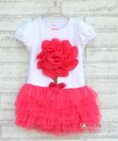 Wholesale orange clothes for girls for sale - Summer kids clothing children s dress girl lace dress kids tutu dress girl big flower dress color for choose p l