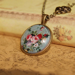 Wholesale Cameo Jewelry Wholesale - Ethnic Women Floral Print Flower Necklace Long Necklaces Cameo Glass Cabochon Handmade Bronzed Jewelry xl072
