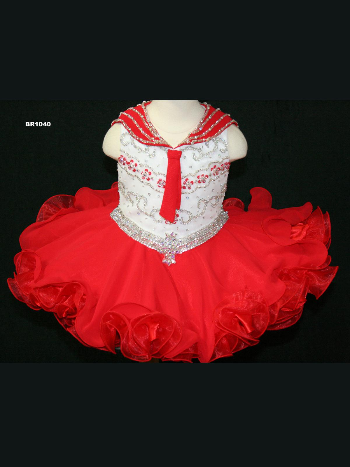 2016 On Sale Cute Red Girls Pageant Dresses Short Chiffon Organza V Neck Zipper Back Beading Sequins White Bodice Bow Girls TUTU Dresses