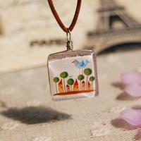 Wholesale Leather Glass Pendant - Cartoon Bird Tree Castle Necklace Leather Long Necklace Vintage Handmade Glass Jewelry xl091