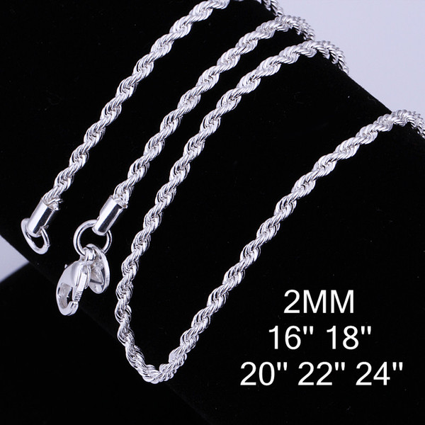Fashion Necklace Jewelry Woman Men 925 Sterling Silver 2mm Twist Rope Chain Necklace For Pendant Charms Necklace Mix 16in-24in 50pcs/lot