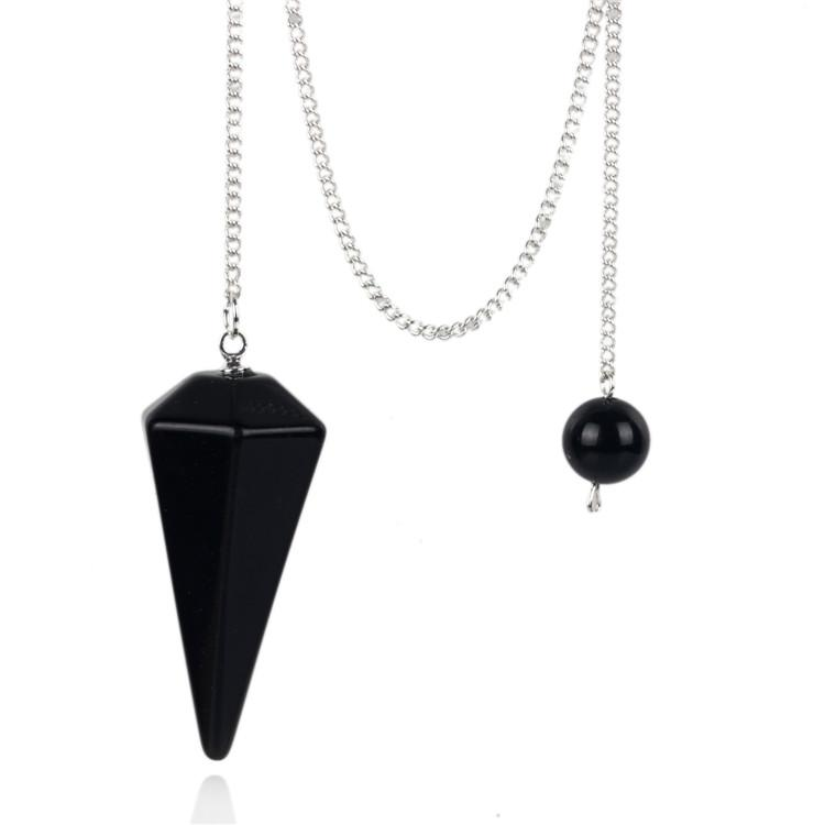 bf8d3dcdfb796 Natural Black Obsidian Pendulum With Sliver Chain Stone Carving Reiki  Chakra Crafts Amulet Pendants Feng Shui Healing Free Pouch