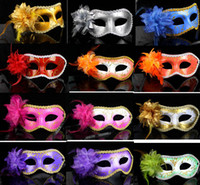 Wholesale Hot Pink Masquerade Masks - Halloween Party Mask Masquerade Flower Princess Dance Mask For Lady Purple Red Black Gold Pink Silver White Purple More Colors Hot On Sale