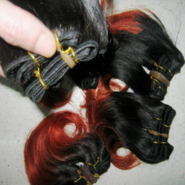 Wholesale Red Two Tone Hair Weaves - 100% Pure human hair Indian two tone red black Hair Extensions 7pcs lot Really Nice weave