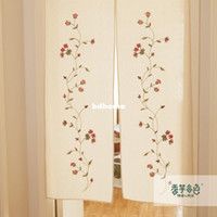 Wholesale Embroidery Curtain Fabric - Japanese style curtain fabric taro rustic lu embroidery partition handmade embroidery kitchen curtain air conditioning curtain