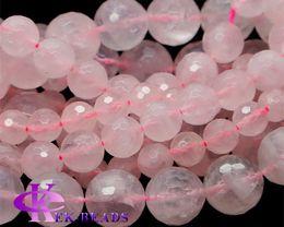 "Wholesale Pink Quartz Stone Necklace - Discount Wholesale Natural Genuine Rose Quartz PInk Crystal Faceted Round Loose Stone Beads 3-18mm DIY Necklaces Bracelets 15.5"" 03615"
