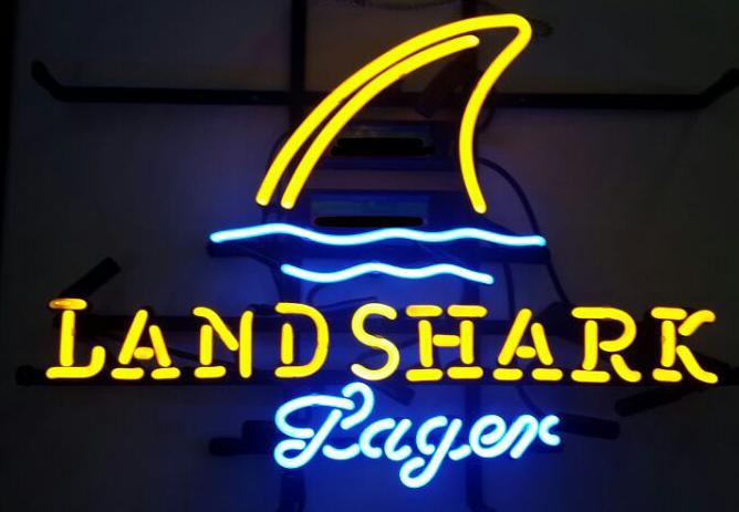 2020 LandShark Lager Real Glass Neon Light Sign Land Shark