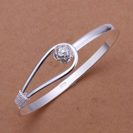 $enCountryForm.capitalKeyWord NZ - JSB1 925 sterling silver plated women jewelry cuff bangle,fashion flower clasp 925 silver women bangle bracelet jewellry