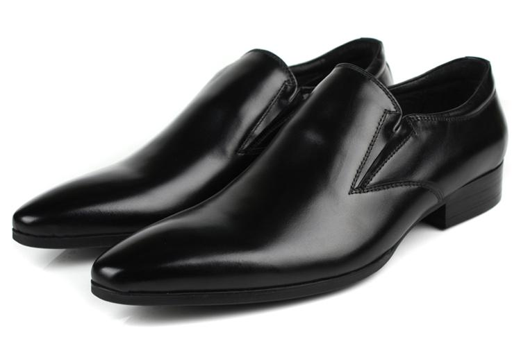 New Fashion Black Mens Office Shoes Pointed Toe Genuine Leather ... 5ca053e72a