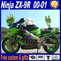 Wholesale Kawasaki Zx9r - Motorcycle fairings for ZX-9R 00 01 Kawasaki Ninja ZX9R 2000 2001 ZX 9R green black plastic fairing kit GH6 free paint