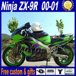 Wholesale Plastic Paint Green - Motorcycle fairings for ZX-9R 00 01 Kawasaki Ninja ZX9R 2000 2001 ZX 9R green black plastic fairing kit GH6 free paint