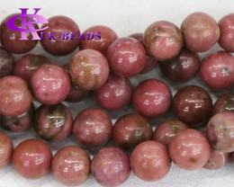 "Wholesale Pink Jade Beads - Discount Wholesale Natural Genuine Rose Stone Pink Rhodonite Round Loose Stone Beads 3-18mm Fit Jewelry DIY Necklace or Bracelet 15.5"" 03349"