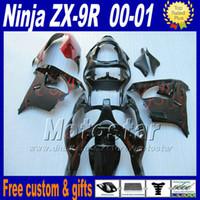 schwarze rote flamme großhandel-Hochwertiges Verkleidungsset für ZX-9R 00 01 Kawasaki Ninja Verkleidung ZX9R 2000 2001 ZX 9R Red Flame in schwarzen Motorradteilen