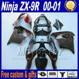 2019 kawasaki zx9r kits de carenagem Kit de carenagens de alta qualidade para ZX-9R 00 01 Carenagem Kawasaki Ninja ZX9R 2000 2001 ZX 9R chama vermelha em peças pretas de motobike kawasaki zx9r kits de carenagem barato