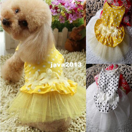 Wholesale Dog Flower Dresses - FreeShipping Dog Cat Puppy Pets Tutu Dress Clothes Flower Lace Dresses Pet Products Clothing Party Apparel Costume DropShipping