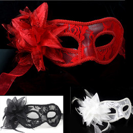 Wholesale Lady Masquerade - On Sale Handmade Lace Leather Mardi Gras Mask Masquerade Flower Princess Mask For Lady Purple Red Black White Option
