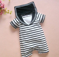 Wholesale Stripes Navy Romper - Summer Clothing For Baby Boys Stripe Navy Sailor Romper 0-24M Toddler Infant Jumpsuits Bodysuit Factory Retail RT448