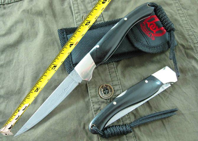 High End Damascus steel pocket knife Rare Ebony Handle 58HRC Blade Outdoor camping hiking survival knifes knives