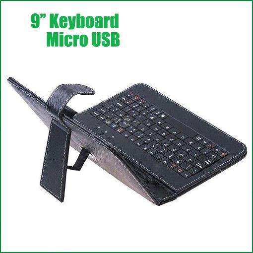 Wholesale - Freeshipping 9inch Universal Keyboard 9 inch multi-color PU leather Case Cover with Micro USB Keyboard for Tablet Q9 PRO Retail