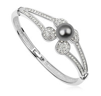 Wholesale Elements Pearl Bracelet - Fashion Brand Accessories For Women Pearl Bangles Bracelets Prom jewelry made with Swarovski Elements 18K White Gold Filled 10583