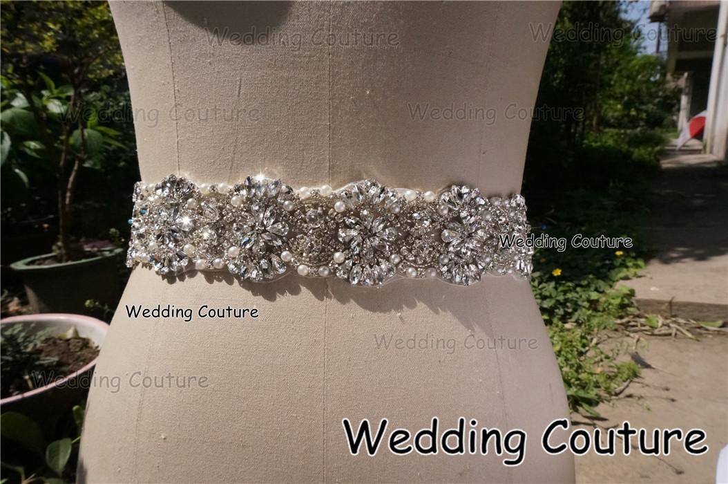 Cinturino accessorio nuziale di lusso della cinghia del vestito da cerimonia nuziale di lusso di cristallo reale della perla di immagine di trasporto libero Sash