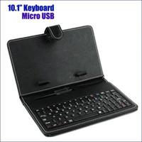 универсальный чехол для клавиатуры с клавиатурой оптовых-Бесплатная доставка 10 10,1-дюймовый универсальная клавиатура многоцветный PU кожаный чехол с Micro USB клавиатура для планшета розничная
