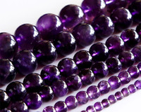 "Wholesale Amethyst Loose Beads - Wholesale Natural AAA Grade Amethyst Purple Crystal Round Loose Stone Beads 3-18mm Fit Jewelry DIY Necklaces or Bracelets 15.5"" 02891"