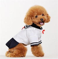 Wholesale Overall Teddy - XS Size School Uniform Dresses for Pet Dog White Overalls Dress Cats Custume for Teddy Chihuahua Yorkshire Free Shipping