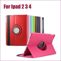 Wholesale Ipad2 Leather Cases - Wholesale - Leather case For Apple ipad2 ipad3 ipad4 iPad 2 3 4 Case 360 Degree Rotating Stand PU Leather Case Retail