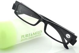 Wholesale Led Lighted Reading Glasses - newest black Led Reading Glasses Reading Glass with LED Light glasses power +1 +1.5 +2 +2.5 +3 +3.5 +4
