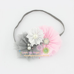 Wholesale Shabby Chic Lace Flowers - Baby girl headband shabby chic flower hairband Rhinestone Button satin tulle flower headband Toddle Hair accessories 12pcs lot