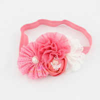 Wholesale Eyelet Lace Bow - Free shipping shabby chic flower headband Eyelet flower with Dot chiffon flower headbands for Newborn Toddler photo prop 24pcs
