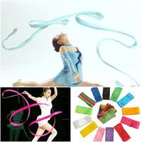 Wholesale Dance Rod - 4M Dance Ribbon Gym Rhythmic Art Gymnastic Ballet Streamer Twirling Rod