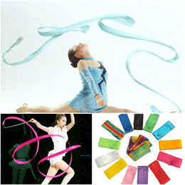 Wholesale Wholesale Gym Ribbon - 4M Dance Ribbon Gym Rhythmic Art Gymnastic Ballet Streamer Twirling Rod