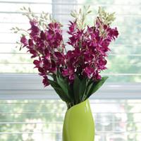 ingrosso orchidea di seta viola-10 pezzi di seta CATTLEYA orchidea fiore artificiale fiore matrimonio viola / bianco / verde chiaro 67 cm 26
