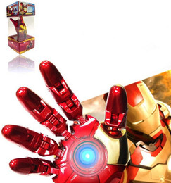Wholesale Memory 64gb Iron Man - Avengers LED Iron Man Hand Model 128GB 64GB 256GB 32GB USB Memory Stick USB Flash Drive Blister Packaging DHL Free Shipping