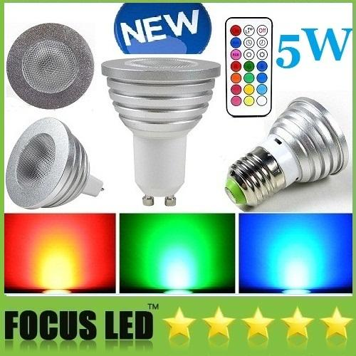 5W RGB LED Bombillas MR16 Dimmable LED Spots Lámpara de control remoto Lámparas LED de alta potencia