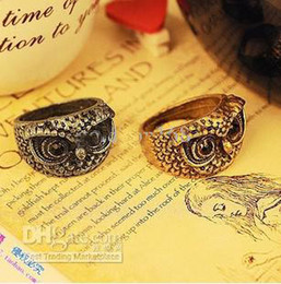 Wholesale Cheap Cat Jewelry - 2014 New Hot Sale Vintage Punk Alloy Cat Owl Rings Cute Retro Gothic Naughty Owl Ring Cheap Jewelry