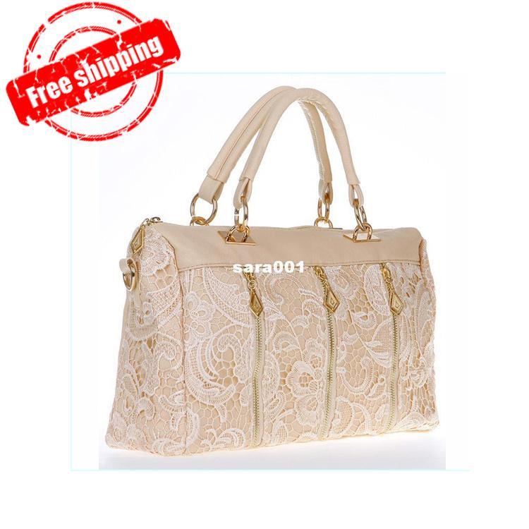 f57674f37a2e New Fashion Women S Lady Lace Handbag PU Faux Leather Designer Tote  Crossbody Shoulder Bag