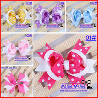 Wholesale Discount Bows Ribbons - Retail 30% Discount 2016 New 11.5cm Fashion Baby Girls Dovetail Style colorful Dot Bow Hair Clips Barrettes Kids Christmas Ribbon Hair Clips