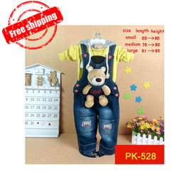 Wholesale Dogs Jumpers - 2014 newborn baby bear   rabbit   dog Jeans Romper, Baby suspender trousers, baby jumper pants, free shipping